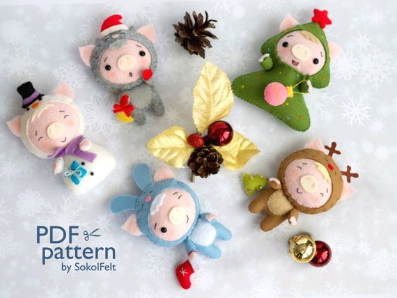 Christmas Pigs.Set Of 5 Christmas Pig Toy Sewing Pdf Patterns Pig Ornament Set Piglet Pattern For Baby Crib Mobile Christmas Pig Ornaments