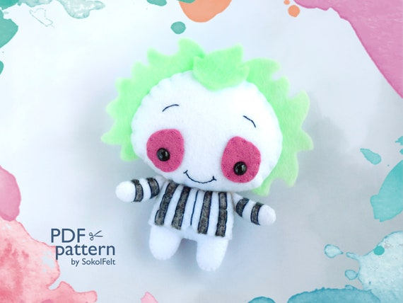 Felt Beetlejuice Pdf Pattern Halloween Easy To Make Plush Toy Etsy