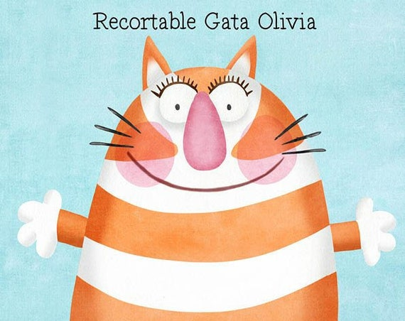 """Cat Olivia"" cutouts. Design by Mónica Carretero."
