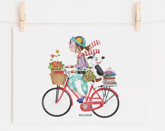 Picture Girl on a bike. Design by Mónica Carretero.
