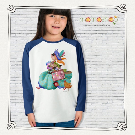 T-shirt long sleeve blue girl pirate design Monica Carter Momo Shop