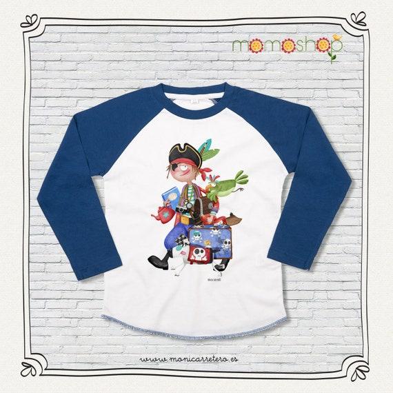 T-shirt long sleeve blue boy pirate design Monica Carter Momo Shop