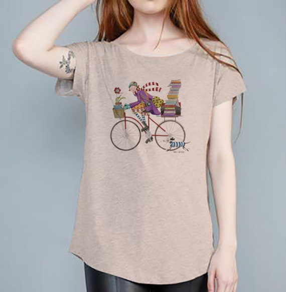 Shirt Beige woman bike design Monica Carter Momo Shop