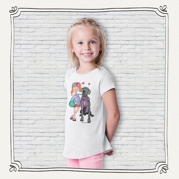 T-shirt girl dog design by Mónica Carretero Momo Shop