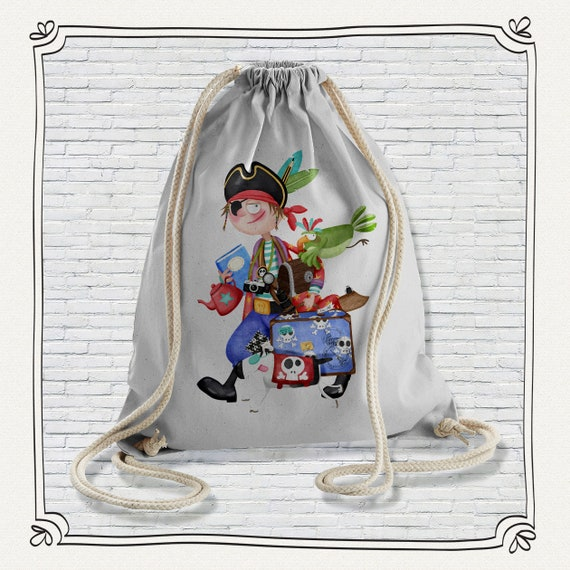 Backpack organic cotton Boy grey Pirate