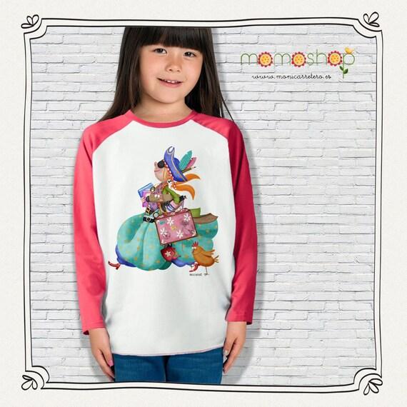 T-shirt long sleeve red girl pirate design Monica Carter Momo Shop