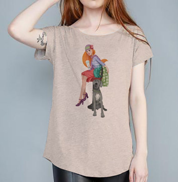 Shirt Beige woman dog design Monica Carter Momo Shop