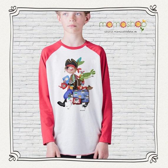 Red long sleeve pirate boy shirt design Monica Carter Momo Shop