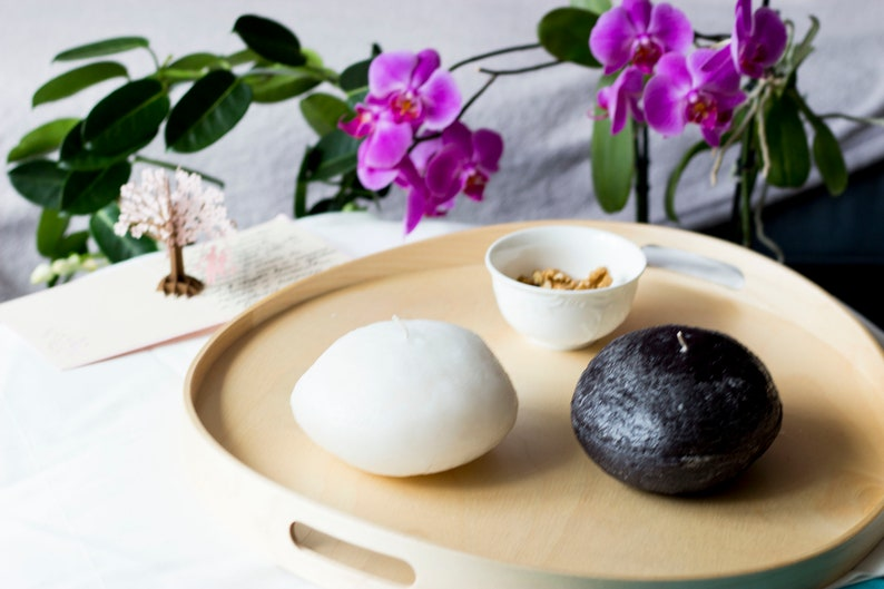 Original Home accessory Scented Candle Unique gift Fancy decoration Big Stone Candle Set Black and White Stone candles