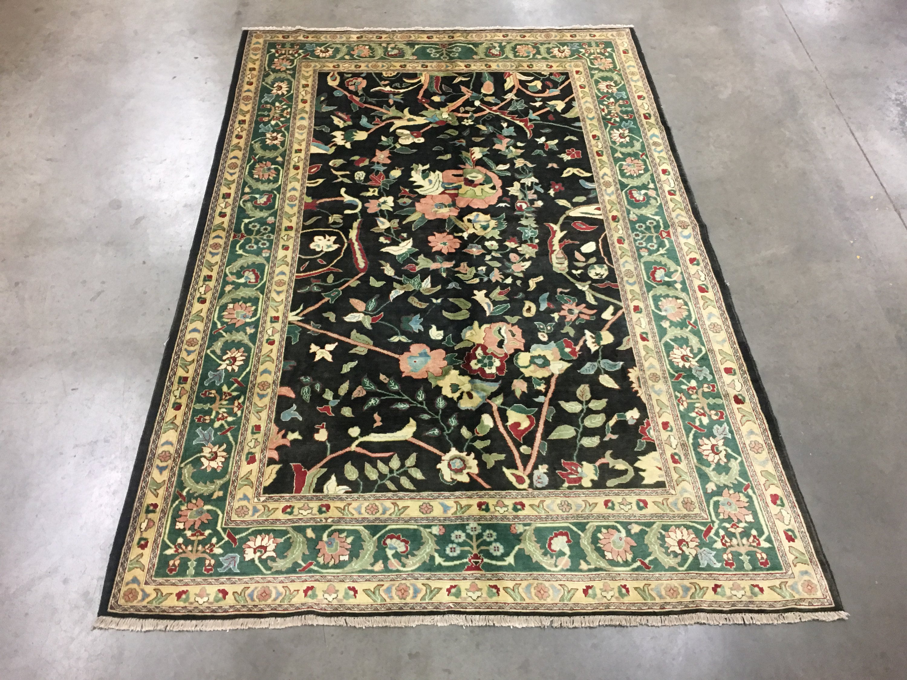 Picture of: 7×10 Peshawar Mahal Area Rug Black Hand Knotted Wool Carpet Etsy