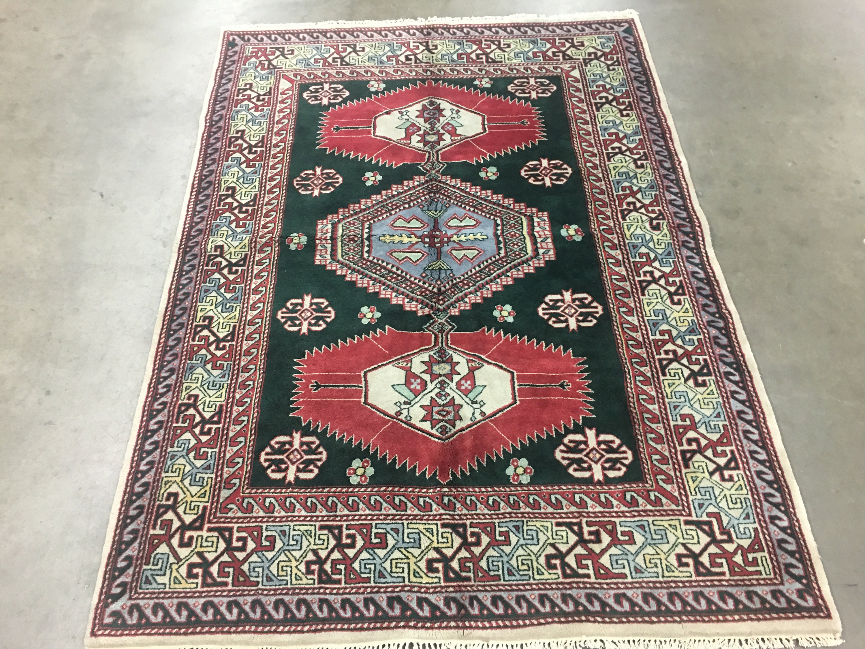 6x8 Heriz Area Rug Hand Knotted Emerald Green Design Oriental Style Wool Carpet 5 7 X 8
