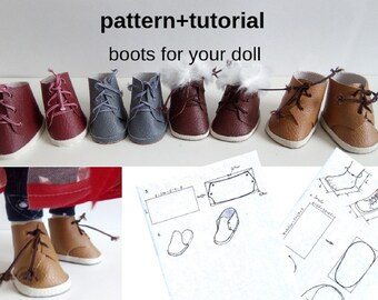 INSTANT DOWNLOAD Pattern shoes for your doll How to make shoes for dolls of any size Doll boots Pattern Download doll moccasins Shoes dolls