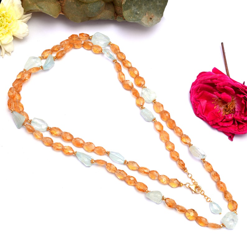 Citrine Beaded Necklace,Citrine Jewelry,Aquamarine Beaded Necklace,Layering Necklace,Citrine Silver Necklace,Statement Necklace,Aquamarine