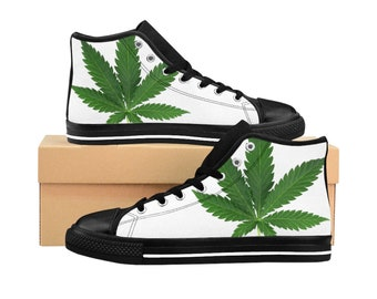 online store bb44a 1a409 Cannabis Lover Mens HighTop Sneakers - Marijuana Leaf Ganja Converse Style  Shoes