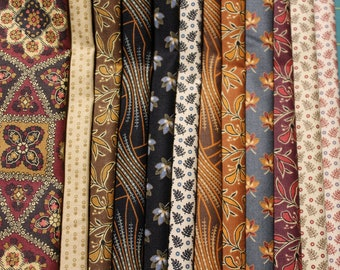 """12 ASSORTED REPRODUCTION Fat Quarters (18X22"""") 100% Cotton by Kathy Hall for Andover Fabrics"""