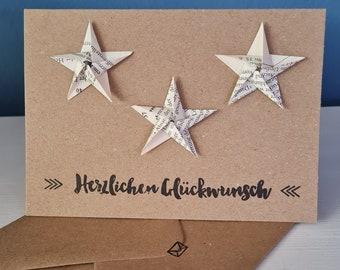 Congratulations cards, birthday cards, handmade, kraft paper, sustainable, eco friendly, books, folded stars