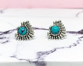 4cfea4388 Turquoise Stud Earrings, 925 sterling silver, turquoise jewellery, December  birthstone, bali earrings, boho jewellery, beaded stud earrings