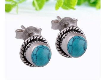 fc4ec4da0 Turquoise Ear Studs, 925 sterling silver, bohemian earrings, minimalist  earrings, dainty ear studs, twist earrings, patterned earrings
