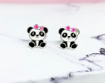 ecb8ecd79 Panda Ear Studs, 925 sterling silver, panda lover gift, bow tie earrings,  bear earrings, panda jewellery, epoxy jewellery, tiny ear studs