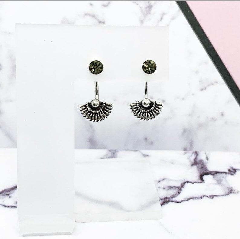 925 Sterling Silver White Opal Hamsa Hand Stud Earrings Bali Boho Hippy Gift Box