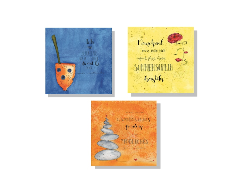 Three art postcards envelope with glossy varnish handlettering