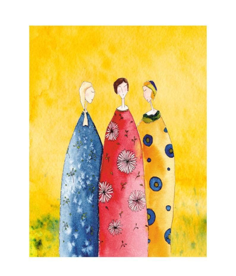 Three women artist postcard with partial varnish