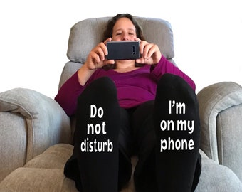 I/'m on my phone do not disturb Easter stocking stuffers unisex socks. Easter gift for teenager girls Easter gift for teens girls daughter