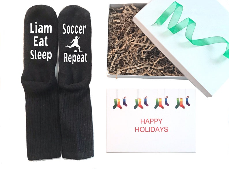 Boys Soccer Christmas gift custom socks for soccer players great for stocking stuffer click here to buy