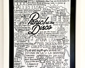 a8d1d0457aa8a Panic! at the Disco A4 Band Lyric Poster Print - Fan Wall Art