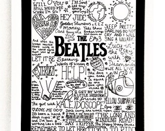 The Beatles A4 Band Lyric Poster Print