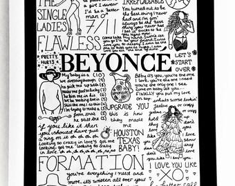 Beyonce lyrics etsy beyonc a4 lyric posterprint fan wall art stopboris Image collections