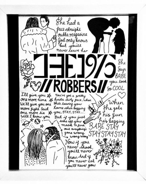 The 1975 Robbers A4 song Lyric Poster/Print Fan Wall Art | Etsy
