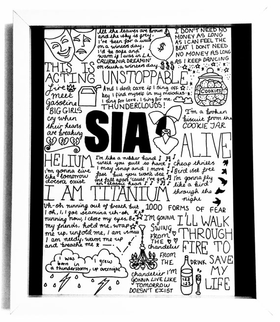 Sia A4 Lyric Poster/Print - Fan Wall Art