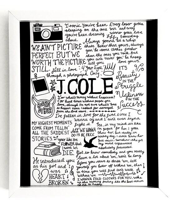 J Cole A4 Lyric Posterprint Fan Wall Art Etsy