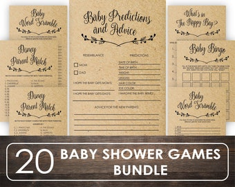 20 Baby Shower Games Pack in RUSTIC, Printable Baby Shower Games, Baby Shower Party Games, rustic Baby Shower, Baby Shower Games GSW003