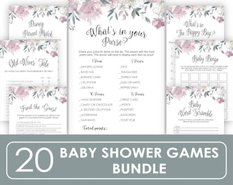 baby shower games printable , Celebrity baby name game, Celebrity baby shower game floral, Rustic Baby Shower Party simple kraft B11