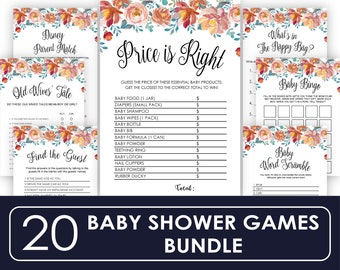 Baby  Price is Right, Baby Shower Games, Printable Games, floral Baby Shower Games, Baby Shower Ideas, Country Baby Shower, Instant Download