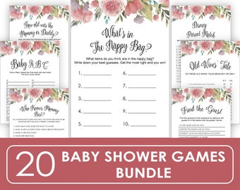 Nappy Bag Baby Sign Printable, Floral Baby Shower Game, Don't Say Baby Game Sign, Instant Download, Pink and Gold Baby Shower, JH043