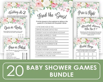 Baby Shower Games, Printable Find the guest Baby Shower Games, Set of 20 Games, Instant Download PDF