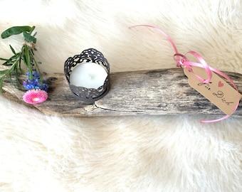 Kerzenständer für 7x Teelicht aus sehr alter Fassdaube aus Eichenholz 101x11x8cm