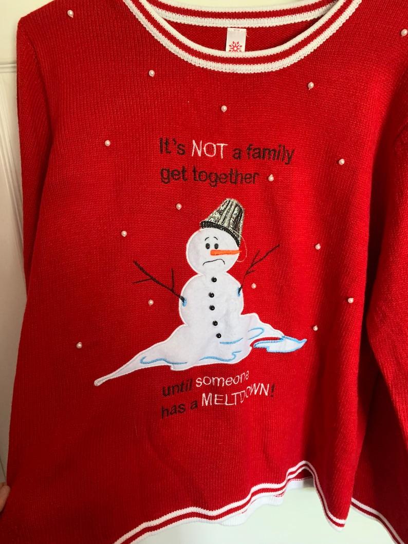 Christmas Snowman Winter Family Meltdown Crazy Ugly Sweatshirt Size XXL