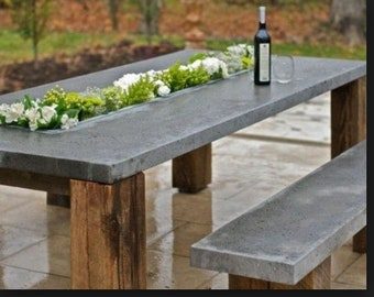 Outdoor Dining Set, Concrete Modern Table And Bench Set