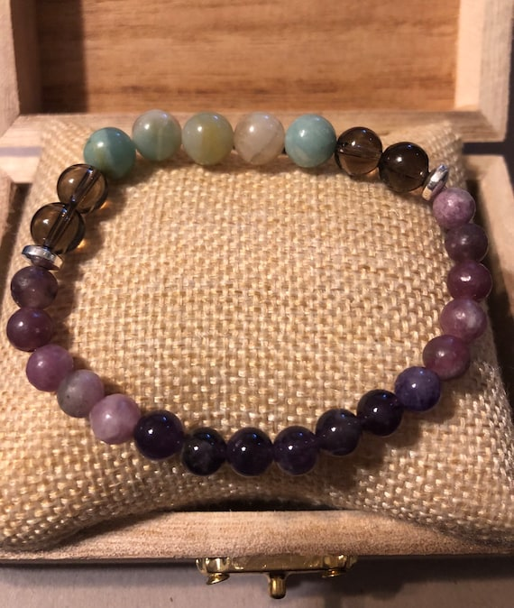 Black Tourmaline Nugget Unisex Bracelet Tuned  with 432 HZ Frequency Reiki Infused