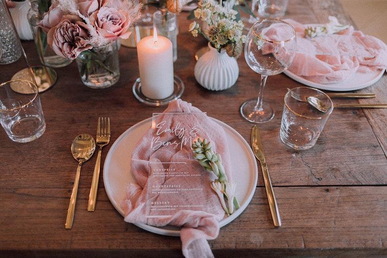 Acryl Menükarte Hochzeit