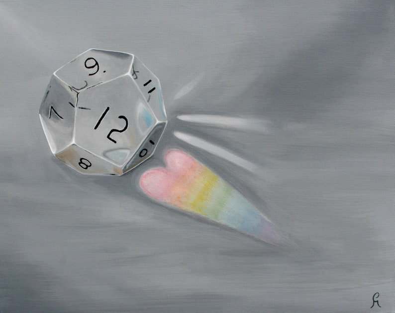 RPG D12 clear 12 Sided Dice Rainbow Heart Prism Gift for image 0