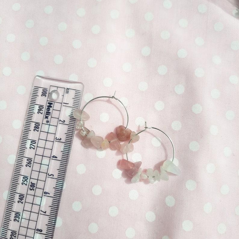 Witch Jewellery crystal jewellery Rose Quartz Hoop Earrings Witch Earrings