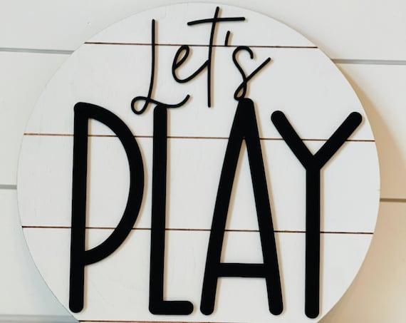 Playroom Sign | Let's Play Sign | Playroom Décor | Shiplap Kid's Sign | Farmhouse Sign | Kids Bedroom Sign