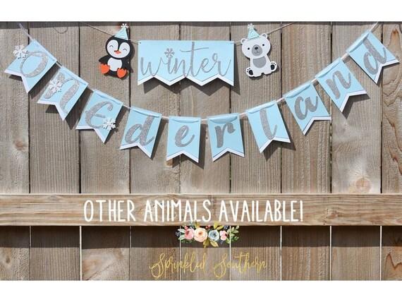 Winter ONEderland- Frozen Theme- Polar Bear and Penguin Banner for first Boy or Girl Birthday- Winter Woodland Animal First Birthday