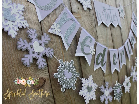 Winter ONEderland Snowflake Theme Banner for First Birthday in Purple
