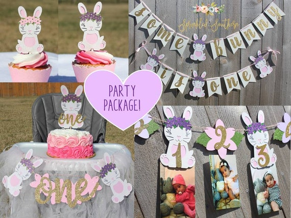 Some Bunny is ONE Smash Cake Party Package, Bunny is Turning One Party in a Box, Floral Bunny First Birthday Girl